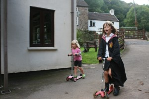 Hogwarts girl in our driveway