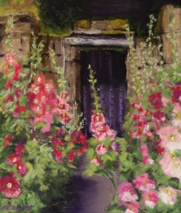Hollyhocks in Usk