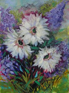 A Trio of Daisies Oil painting 30cm x 42cm Unframed £70