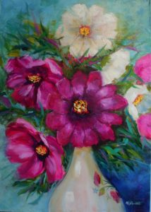 Cosmos Elegance Oil 52cm x 36cm Unframed canvas board £125