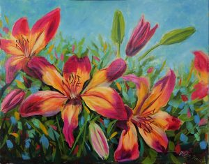 Fire Garden Lilies Oil painting 50 x 40cm Light oak wooden frame £80