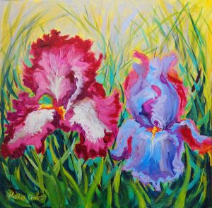 Iris Togetherness Oil painting 40 x 40cm Canvas board Framing not necessary £80