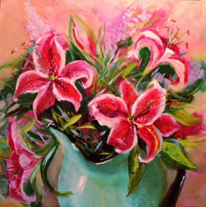 Lilies in a Jug Oil painting 41cm x 41cm Unframed £80