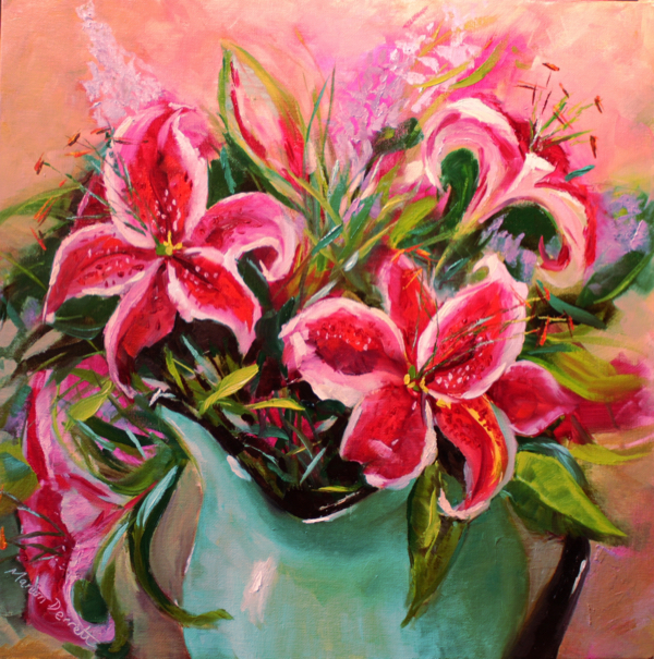 Lillies in a Jug Oil painting 41cm x 41cm Unframed £80