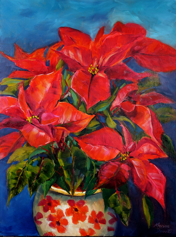 Poinsettia Winter Joy Oil painting 46cm x 61cm Unframed £150