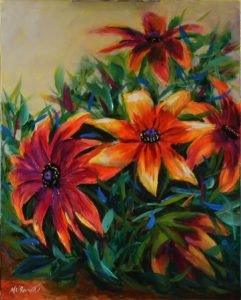 Rudbeckia Gold Oil painting 26 x 46cm gallery-wrap stretched canvas £175