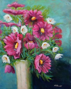 Pink and White Daisies Oil painting