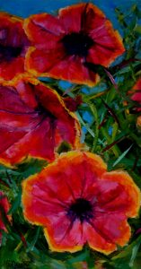 Pink and Yellow Petunias oil painting 15 x 30cm gallery-wrap stretched canvas £30