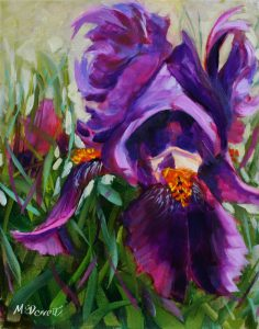 Purple Iris Oil painting 20 x 25cm Unframed canvas board £30