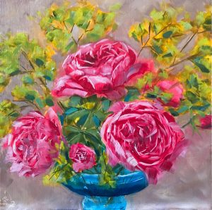 Pink Roses Oil Painting  40cm x 40cm  Gallery-wrap canvas £150